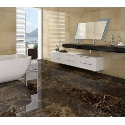 bathroom in cream ivory marble with imperial brown