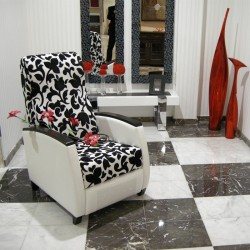 checkered floor with white and black marble