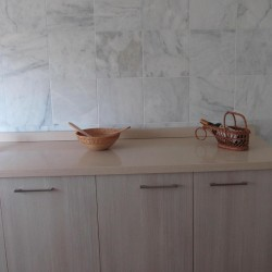 kitchen with white marble